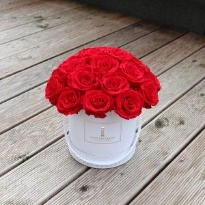 Miegančių raudonų rožių dėžutė